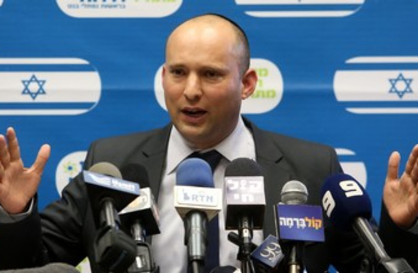 Naftali Bennett at Bayit Yehudi faction meeting 370 (photo credit: Marc Israel Sellem/The Jerusalem Post)
