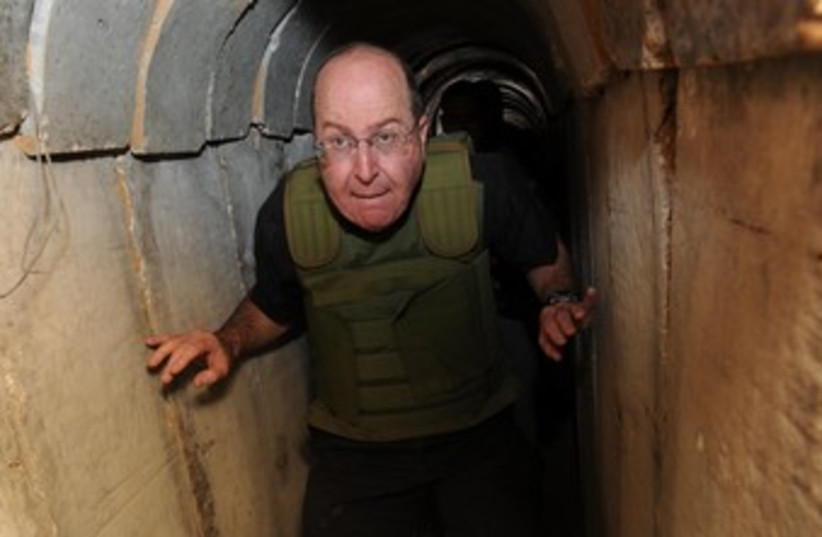 Yaalon tours hamas tunnel in gaza 370 (photo credit: Allon Basson/Defense Ministry)
