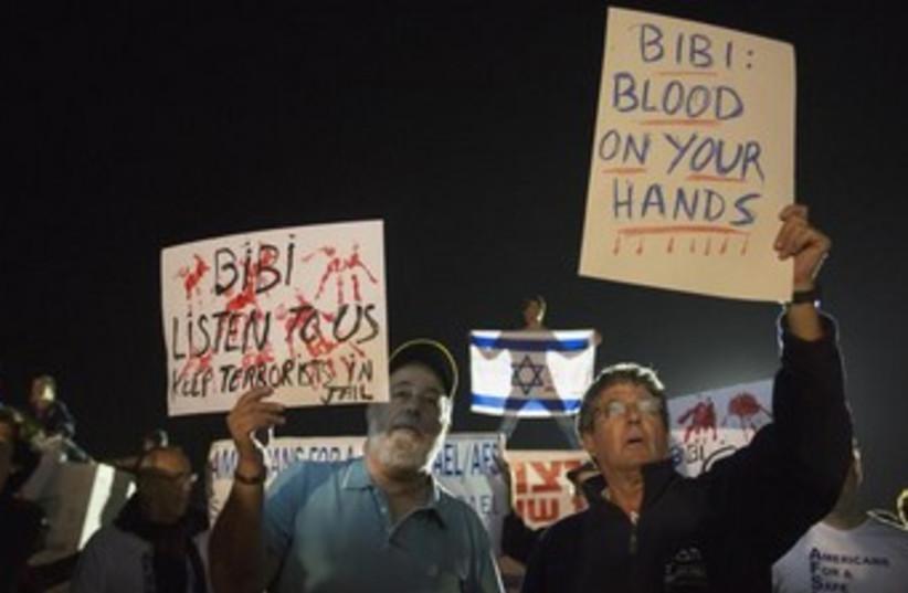 Protest against prisoner release 370 (photo credit: REUTERS)