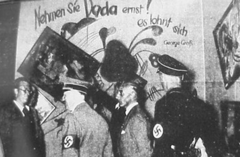 Hitler visits Degenerate Art exhibition 370 (photo credit: Wikimedia Commons)