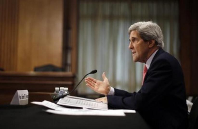 John Kerry profile view hand gesture 370 (photo credit: REUTERS/Jason Reed )