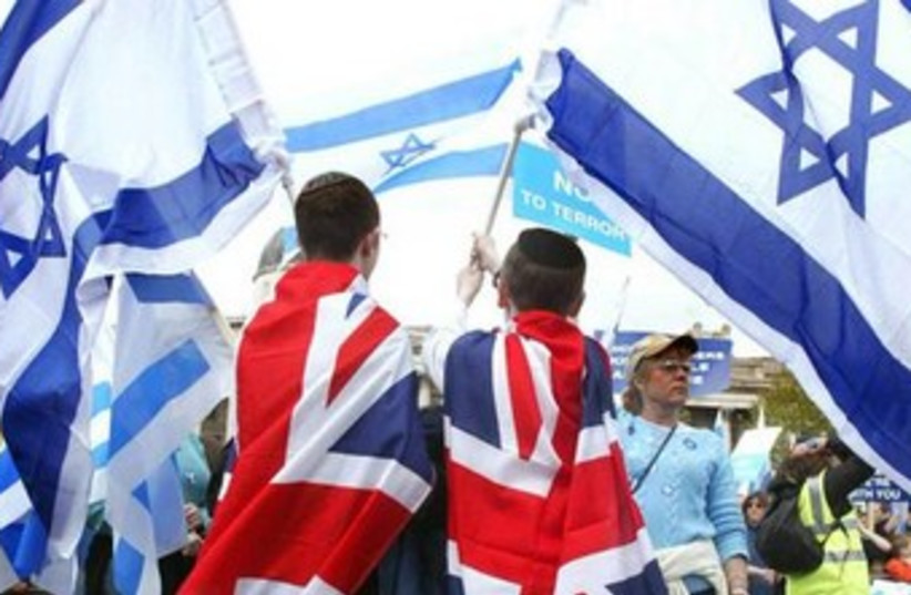 jewish boys with israel and britain flags 370 (photo credit: REUTERS)