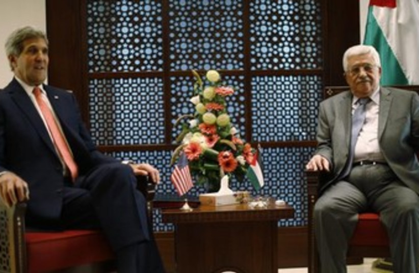 Kerry and Abbas Novebmer 6, 2013 370 (photo credit: REUTERS)