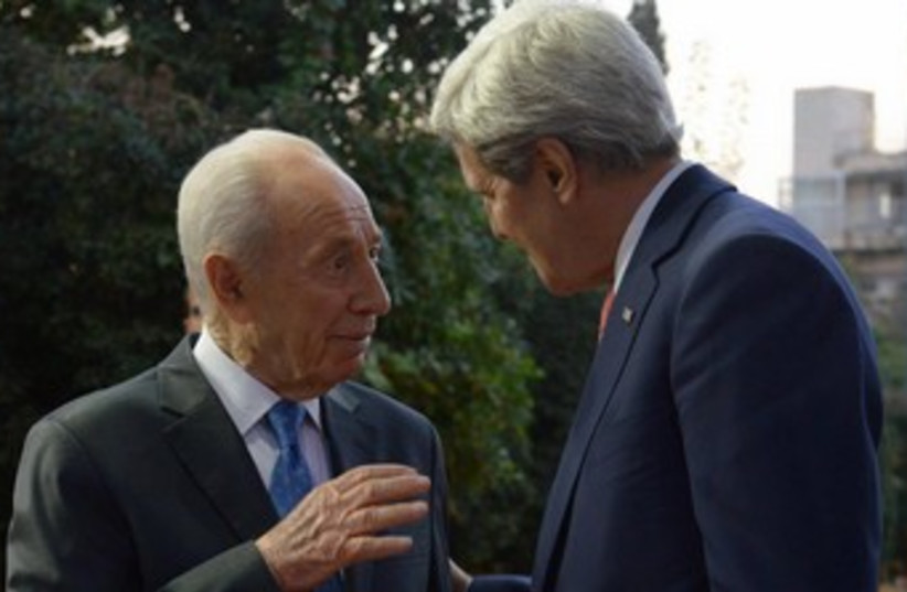Shimon Peres with John Kerry 370 (photo credit: Mark Neiman/GPO)