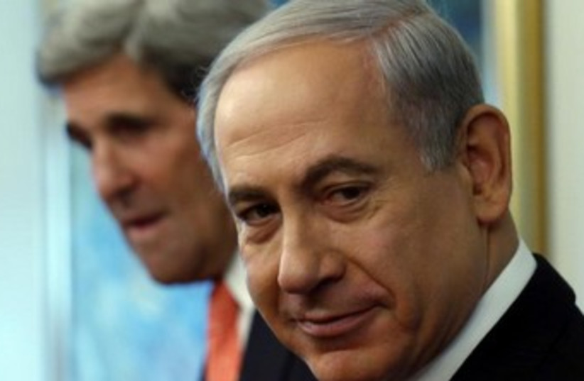 Kerry and Bibi (photo credit: Reuters)