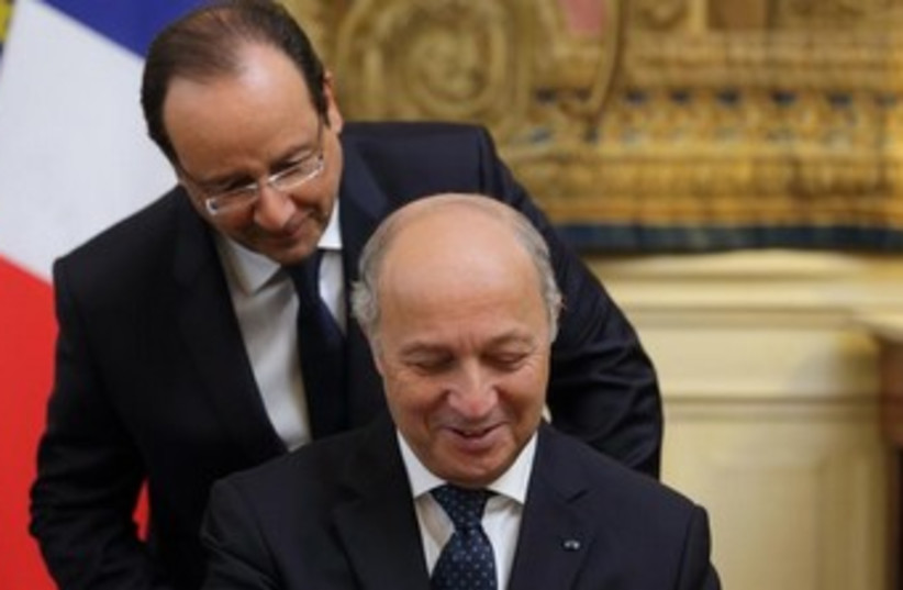 French President Francois Hollande and FM Laurent Fabius 370 (photo credit: Reuters)