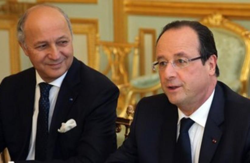 French President Francois Hollande and FM Laurent Fabius 370 (photo credit: Reuters)