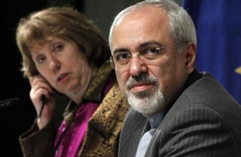 Iranian FM Mohammad Zarif and EU's Catherine Ashton 370 (photo credit: REUTERS)