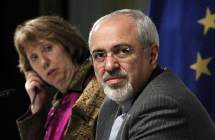 EU's Ashton and Iran FM Zarif 370 (photo credit: REUTERS)