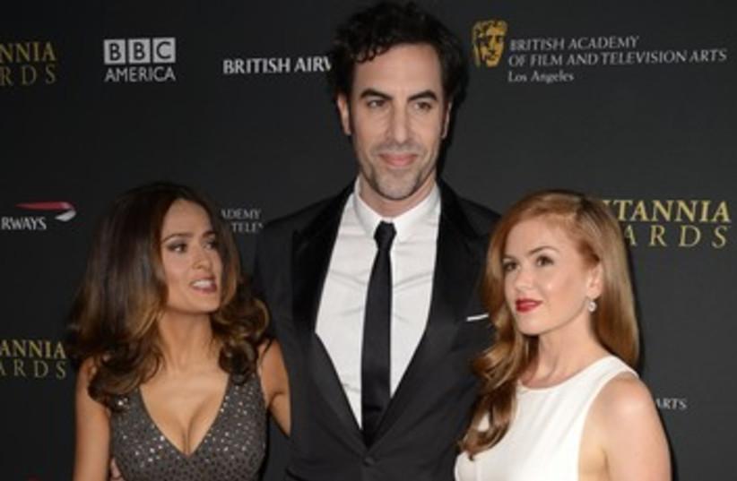 Salma Hayek, Sacha Baron Cohen and Isla Fisher at BAFTAs 370 (photo credit: REUTERS)