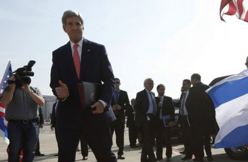 US Secretary of State John Kerry arrives in Israel (photo credit: REUTERS)