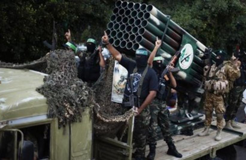 Hamas Gaza rally marking year to Pillar of Defense 370 (photo credit: REUTERS/Suhaib Salem)