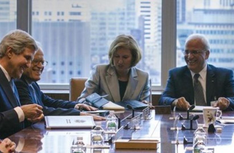 Livni, Erekat, Kerry and Indyk at negotiating meeting 370 (photo credit: REUTERS/Brendan McDermid )