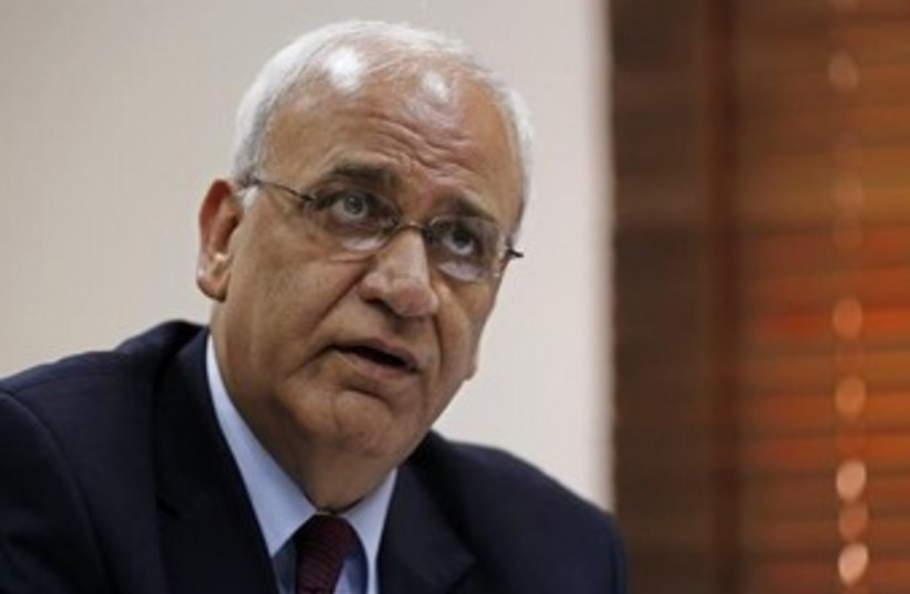 Palestinian negotiator Saeb Erekat 370 (photo credit: REUTERS/Mohamad Torokman)