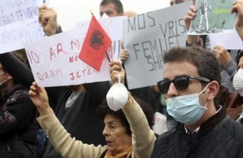 Albania protests against hosting destruction of Syria CW 370 (photo credit: REUTERS/Arben Celi)