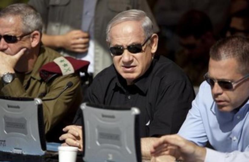 IDF chief Gantz, PM Netanyahu, and Homeland Def. Min. Erdan  (photo credit: REUTERS)