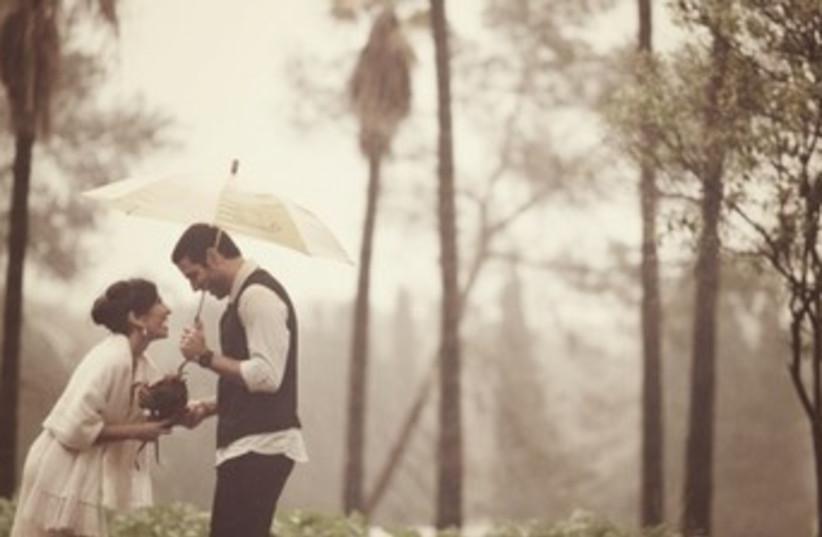 Rainy wedding (photo credit: Liron Erel)