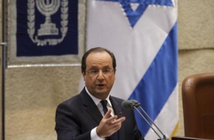 Hollande speech at Knesset (photo credit: REUTERS/Philippe Wojazer)