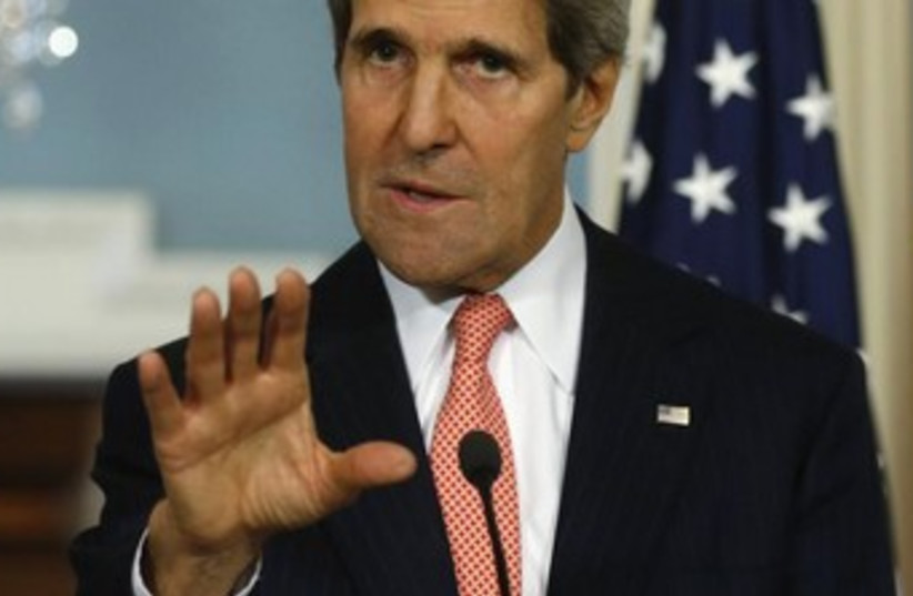 Kerry hand gesture 'clam down' 370 (photo credit: REUTERS/Kevin Lamarque)