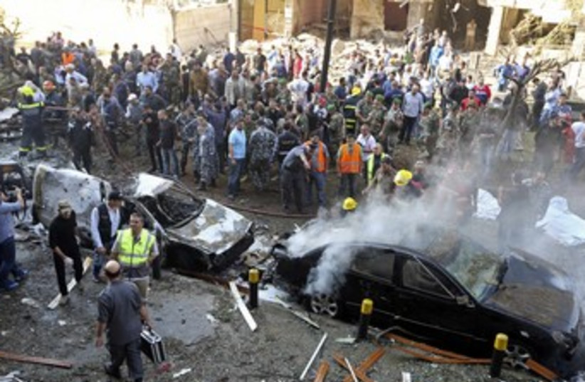 Site of blasts in southern Beirut 370 (photo credit: REUTERS)