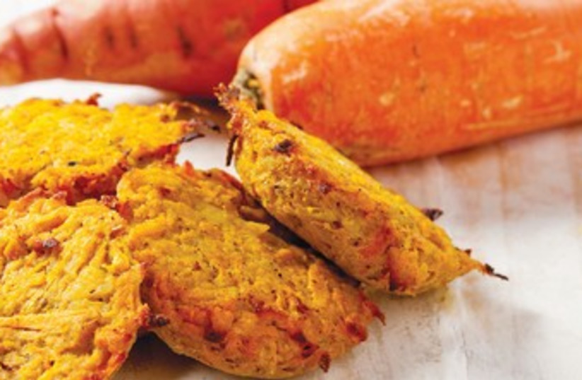 Orange - carrot and sweet potato patties (photo credit: Boaz Lavi)