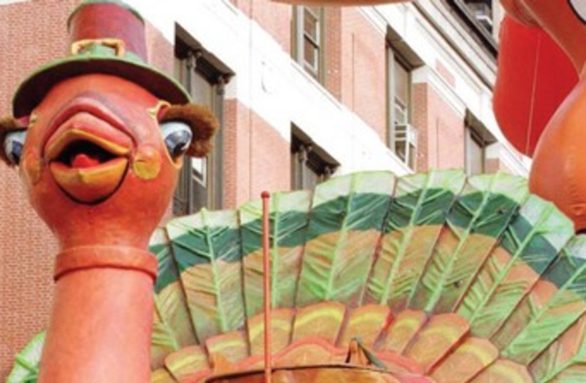A turkey float at the Thanksgiving parade in New York 370 (photo credit: REUTERS)
