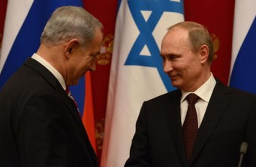 Netanyahu and Putin meet in Mascow 370 (photo credit: Koby Gideon/GPO)