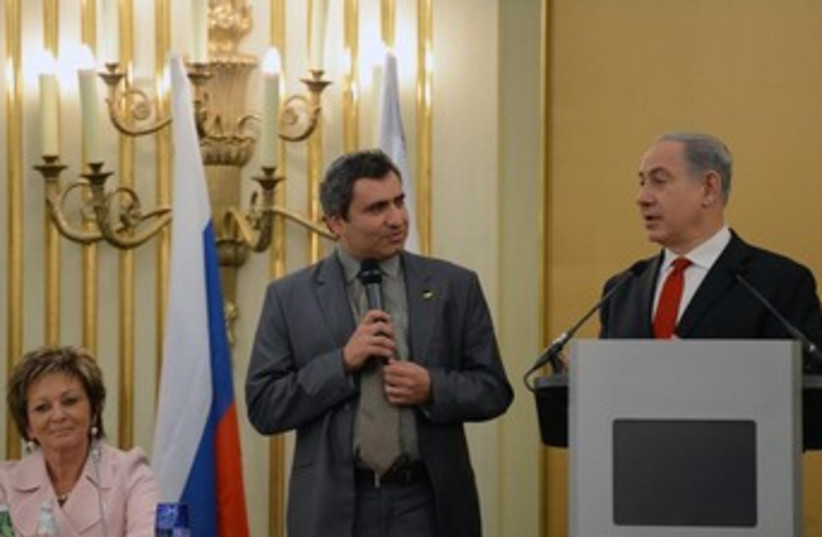 Netanyahu and Elkin in Russia 370 (photo credit: Koby Gideon/GPO)