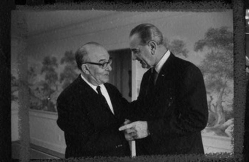 Levi Eshkol and Lyndon Johnson 370 (photo credit: Lyndon B. Johnson Library)