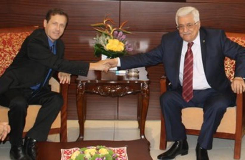 Herzog and Abbas 370 (photo credit: Ran Aharon)