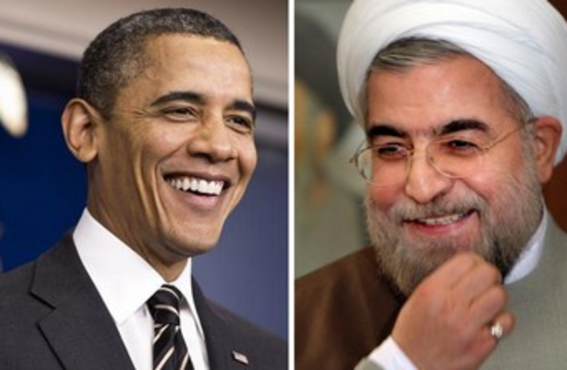 Obama and Rouhani smiling 370 (photo credit: REUTERS)