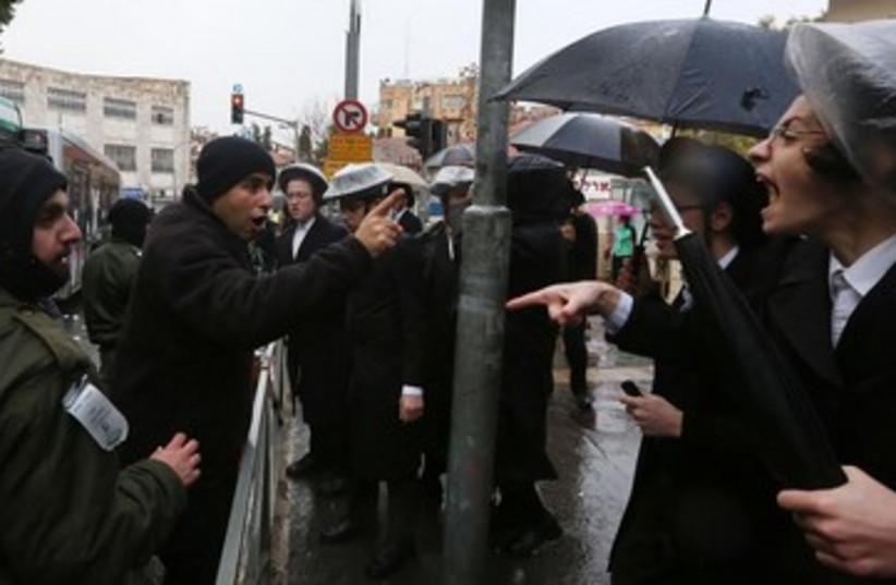 Haredi protest in Jerusalem 390 (photo credit: Marc Israel Sellem/The Jerusalem Post)