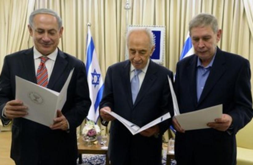 Netanyahu at Mossad ceremony (photo credit: Courtesy GPO)