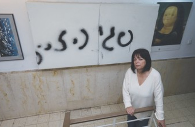 Peggy Cidor's spray-painted wall 370 (photo credit: Marc Israel Sellem/The Jerusalem Post)