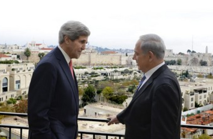 Netanyahu and Kerry overlooking Jerusalem 370 (photo credit: Matty Stern/U.S. Embassy Tel Aviv   )