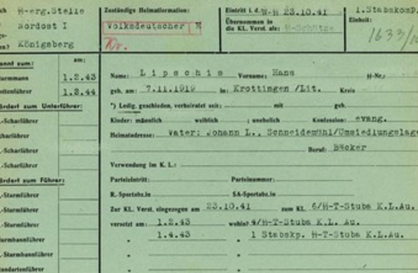 The 1941 military service record of SS soldier Hans Lipschis (photo credit: REUTERS)