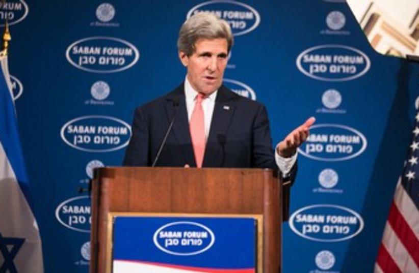 Kerry at Saban Forum 370 (photo credit: Ralph Alswang/Courtesy Saban Forum)