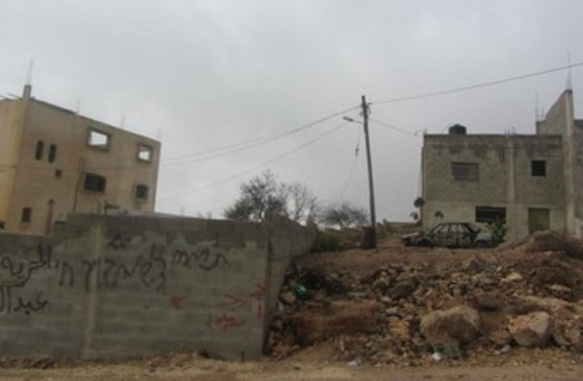 Price tag attack in West Bank village of Jalud 370 (photo credit: Salma a-Dibi, B'Tselem)