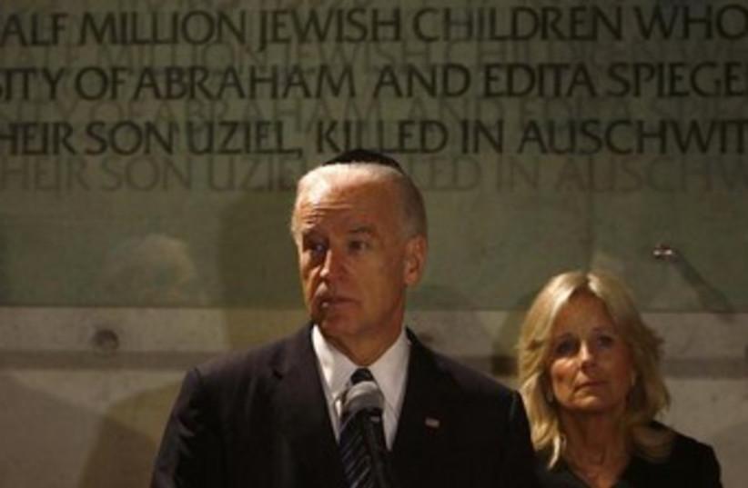 US VP Joe Biden and his wife Jill at Yad Vashem 370 (photo credit: REUTERS)