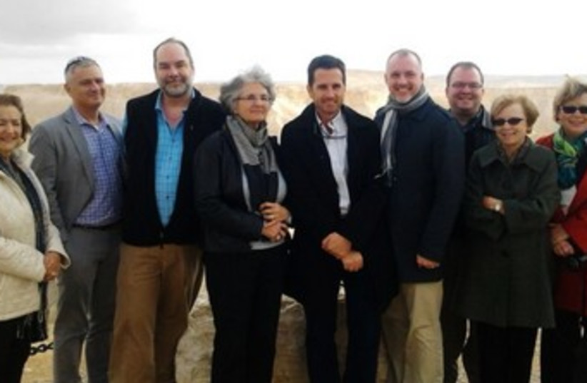 US delegation members at David Ben-Gurion's grave (photo credit: Yonatan Barkan)
