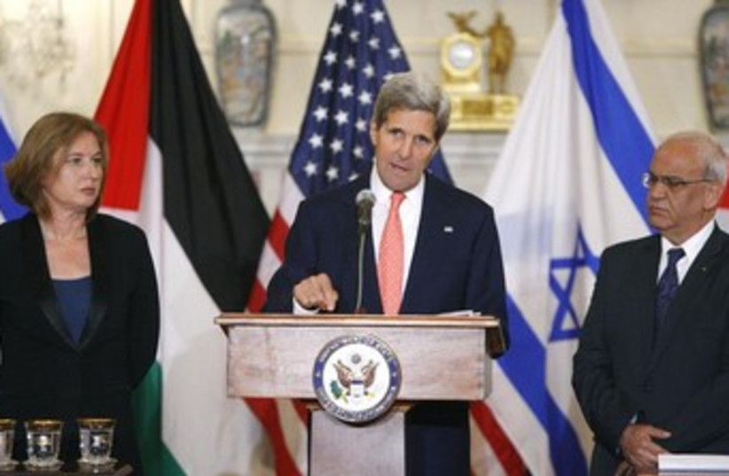 Kerry, Livni, Erekat press conference 370 (photo credit: REUTERS/Jonathan Ernst)
