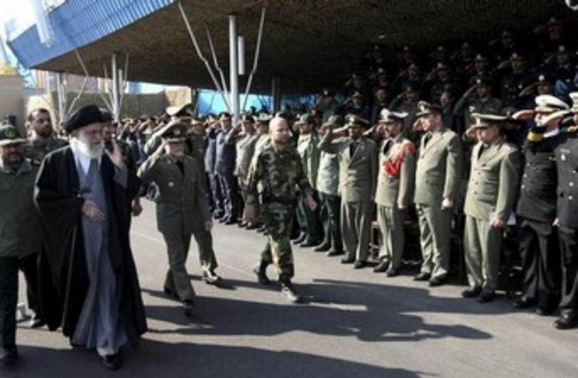 Khamenei in front of Revolutionary Guard 370 (photo credit: REUTERS/Khamenei.ir/Handout)