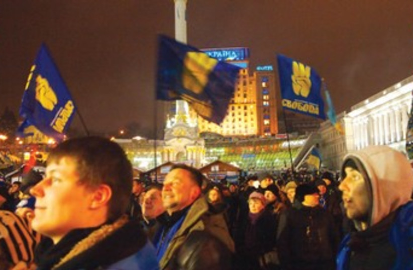 Anti-government protesters in Ukraine 370 (photo credit: SAM SOKOL)