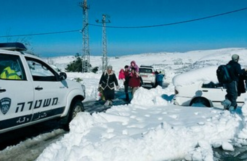 Samaria residents take shelter from storm 370 (photo credit: Samaria Regional Council)