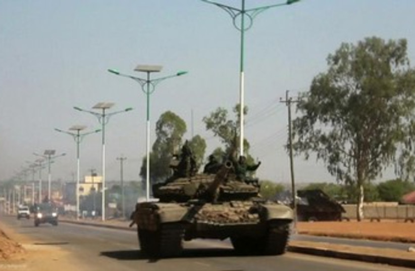 Tank in South Sudan Juba 370 (photo credit: REUTERS/Hakim George)
