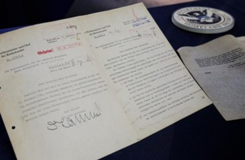 Pages from diary of Nazi leader Alfred Rosenberg 370 (photo credit: REUTERS/Tim Shaffer)