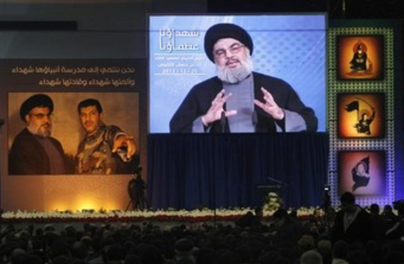 Hezbollah's Hassan Nasrallah addresses supporters in Beirut  (photo credit: REUTERS)