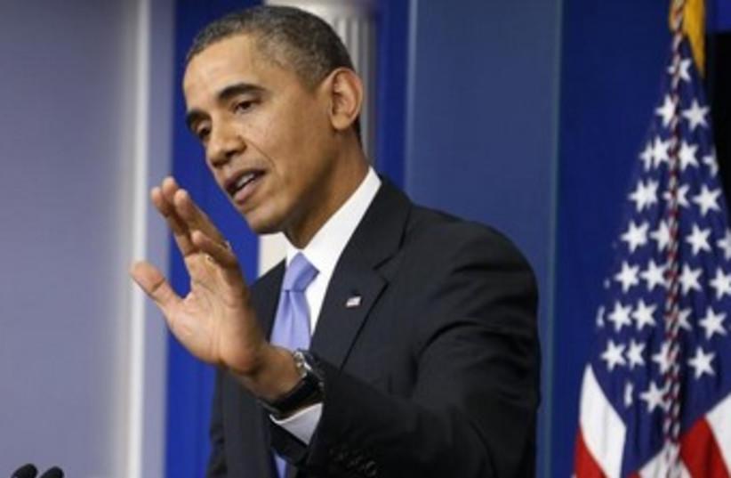 US President Barack Obama gestures during news conference 37 (photo credit: REUTERS)