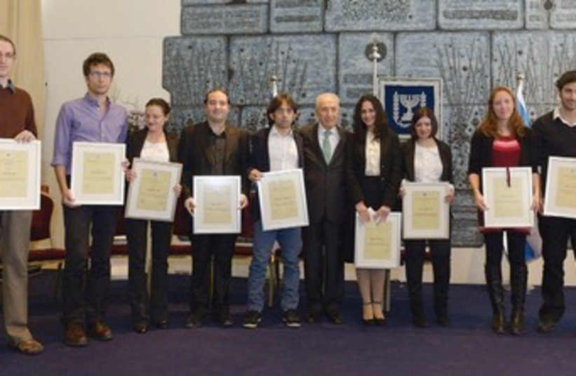 Peres awards brain researchers 370 (photo credit: President's Residence )