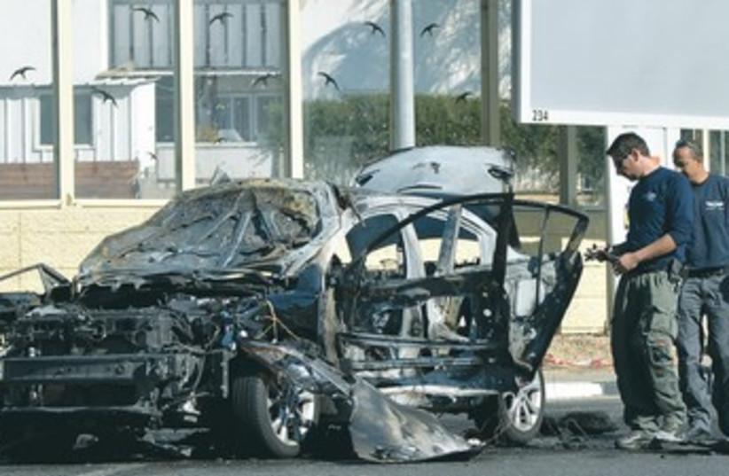 Car bomb in Rehovot, Dec 2013 (photo credit: flash 90)
